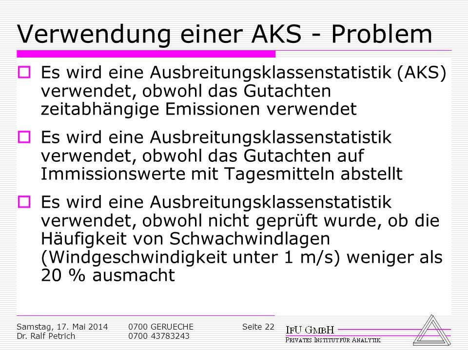 Verwendung einer AKS - Problem