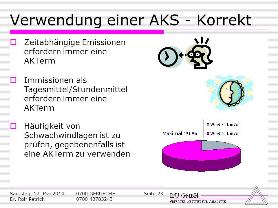 Verwendung einer AKS - Korrekt