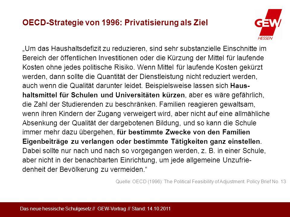 OECD-Strategie von 1996: Privatisierung als Ziel