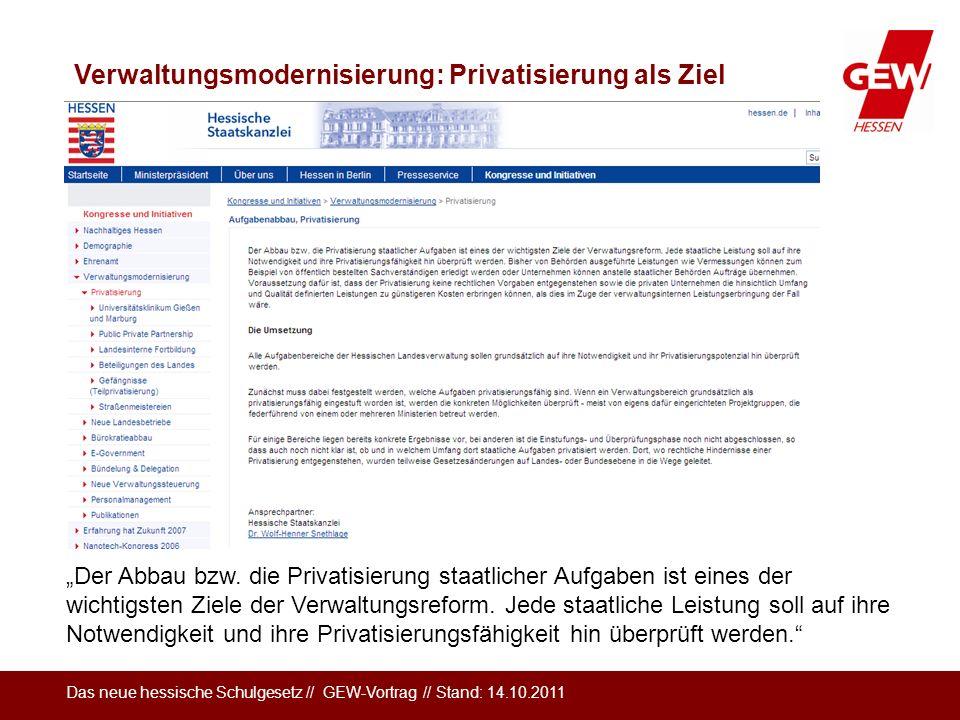 Verwaltungsmodernisierung: Privatisierung als Ziel