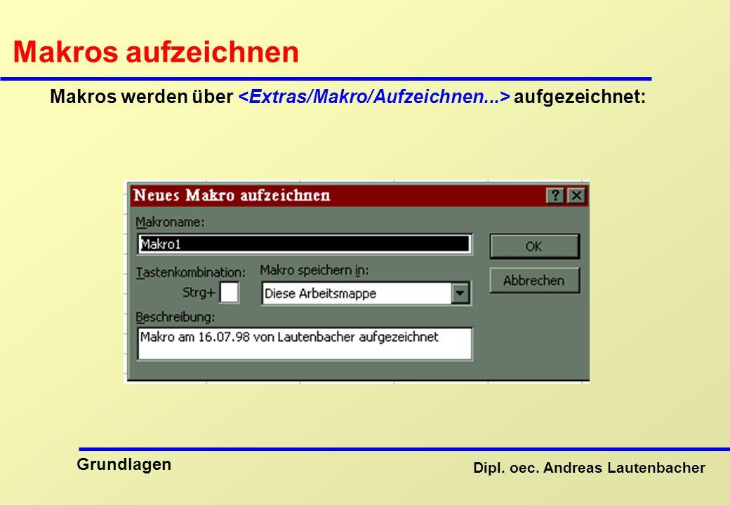 Makros aufzeichnen Makros werden über <Extras/Makro/Aufzeichnen...> aufgezeichnet: