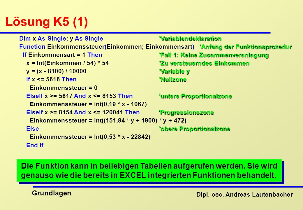 Lösung K5 (1) Dim x As Single; y As Single Variablendeklaration.