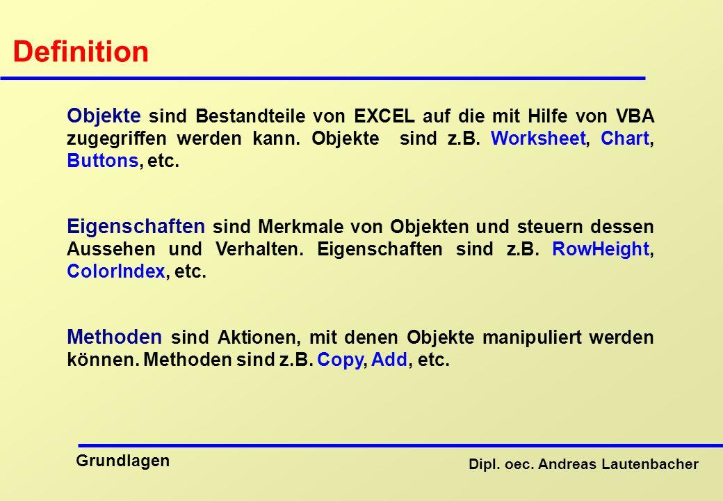 Definition Objekte sind Bestandteile von EXCEL auf die mit Hilfe von VBA zugegriffen werden kann. Objekte sind z.B. Worksheet, Chart, Buttons, etc.
