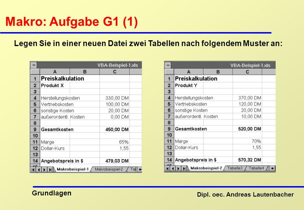 Makro: Aufgabe G1 (1) Legen Sie in einer neuen Datei zwei Tabellen nach folgendem Muster an: