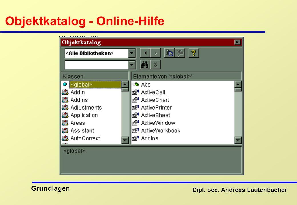 Objektkatalog - Online-Hilfe