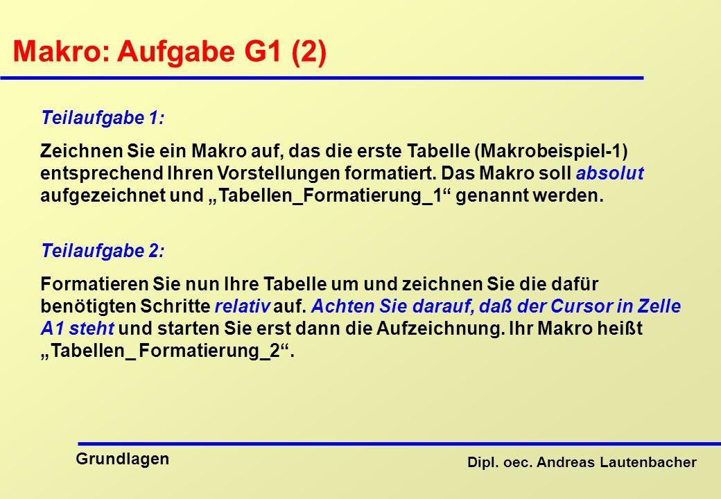 Makro: Aufgabe G1 (2) Teilaufgabe 1: