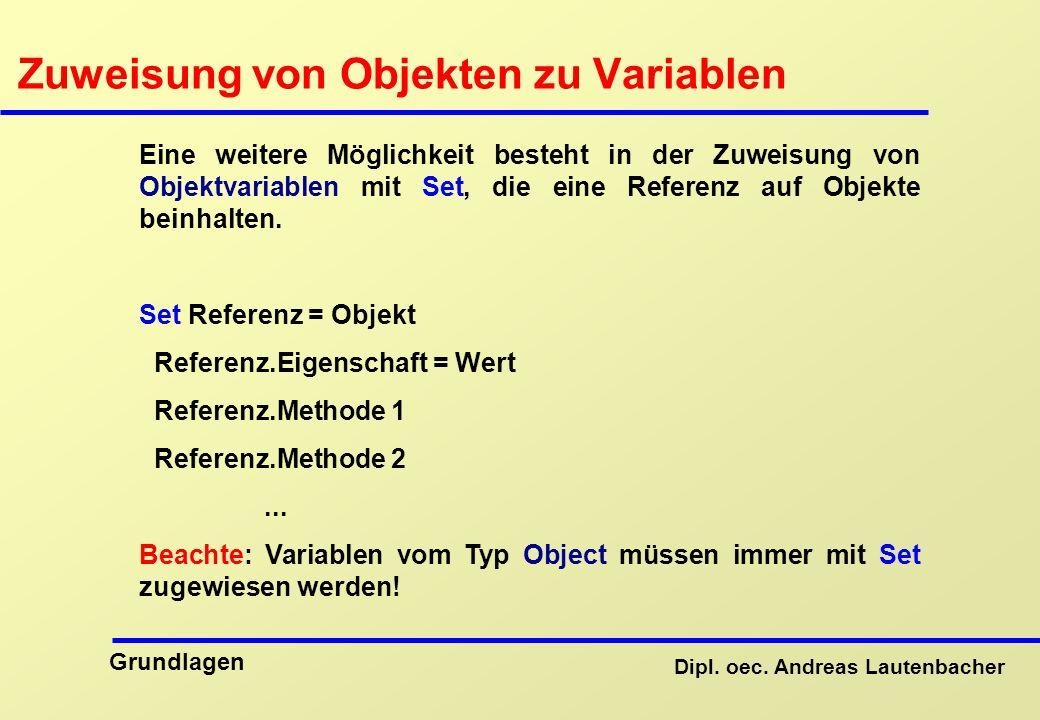 Zuweisung von Objekten zu Variablen