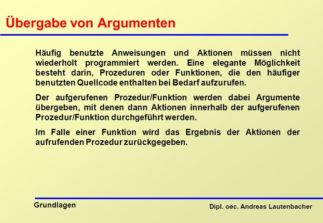 Übergabe von Argumenten