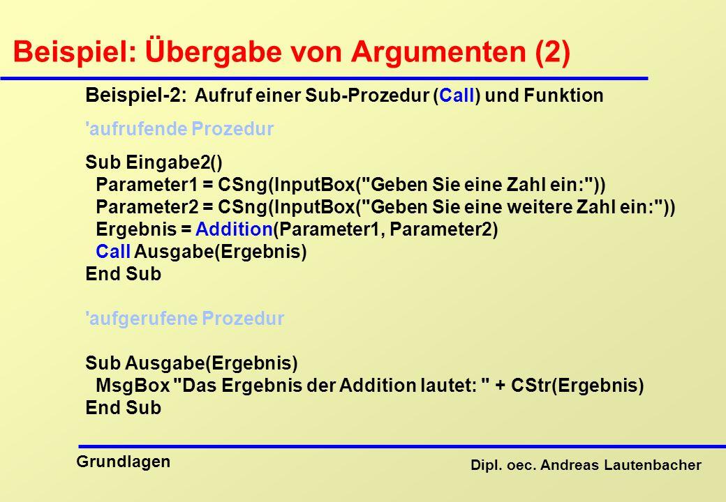 Beispiel: Übergabe von Argumenten (2)