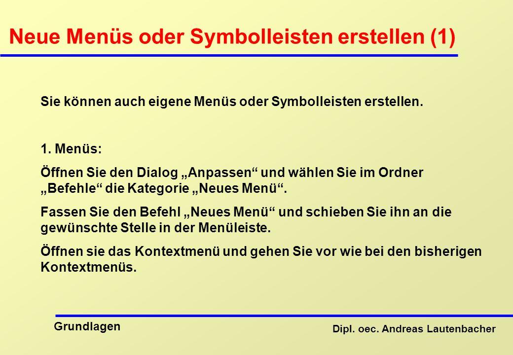 Neue Menüs oder Symbolleisten erstellen (1)