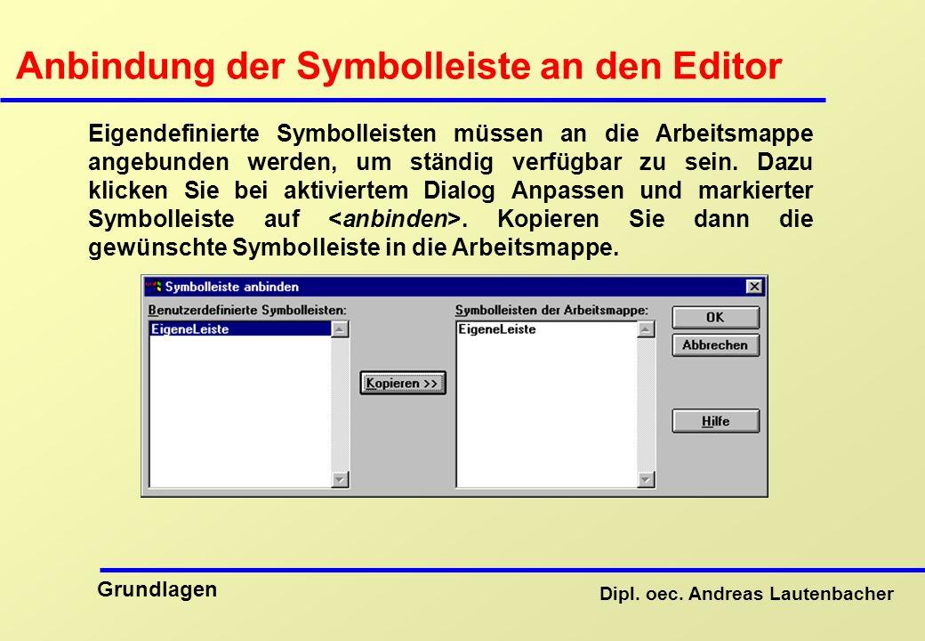 Anbindung der Symbolleiste an den Editor