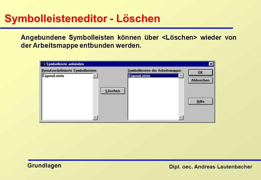 Symbolleisteneditor - Löschen