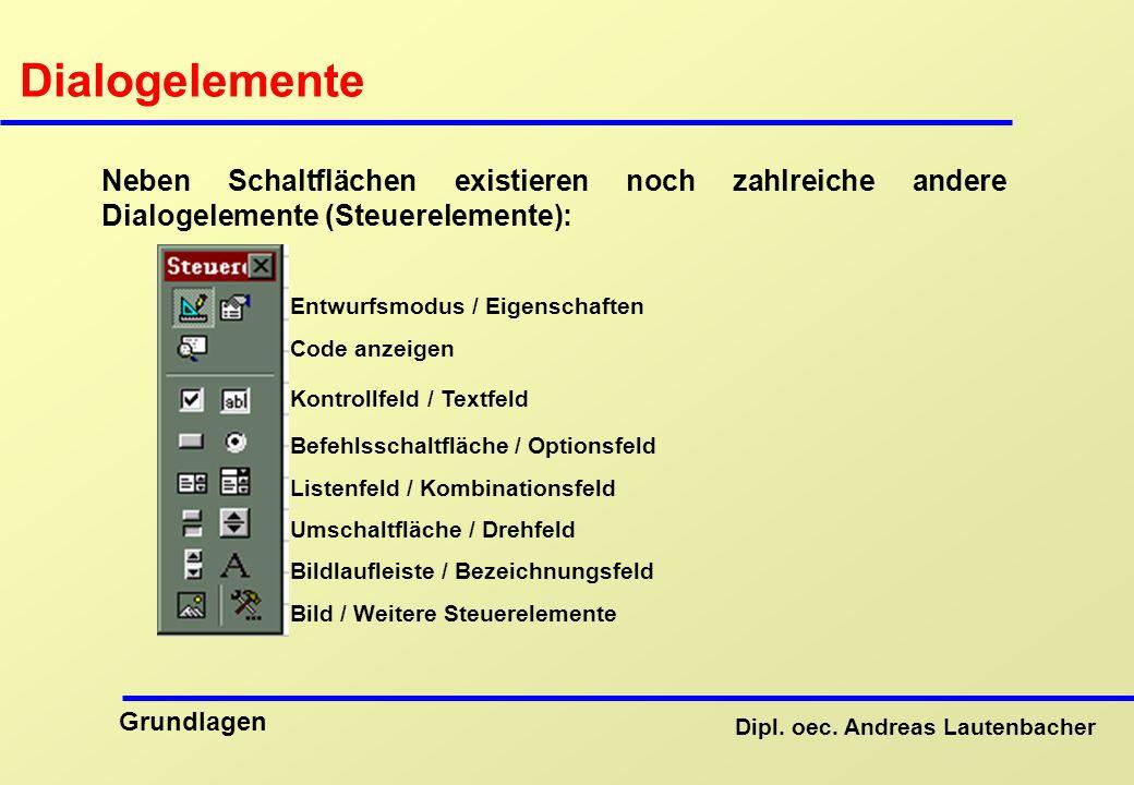Dialogelemente Neben Schaltflächen existieren noch zahlreiche andere Dialogelemente (Steuerelemente):