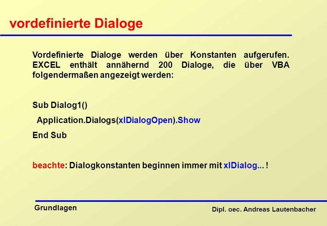 vordefinierte Dialoge