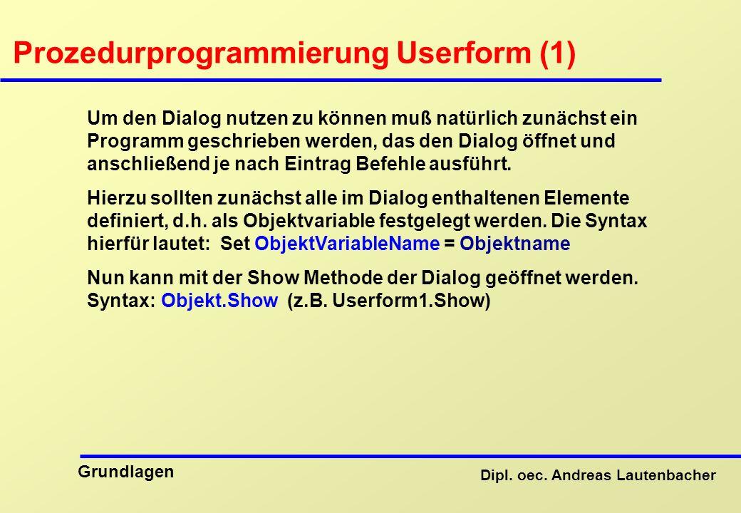 Prozedurprogrammierung Userform (1)