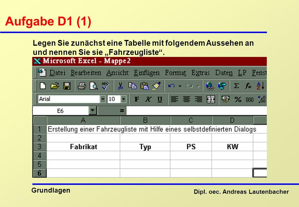 """Aufgabe D1 (1) Legen Sie zunächst eine Tabelle mit folgendem Aussehen an und nennen Sie sie """"Fahrzeugliste ."""