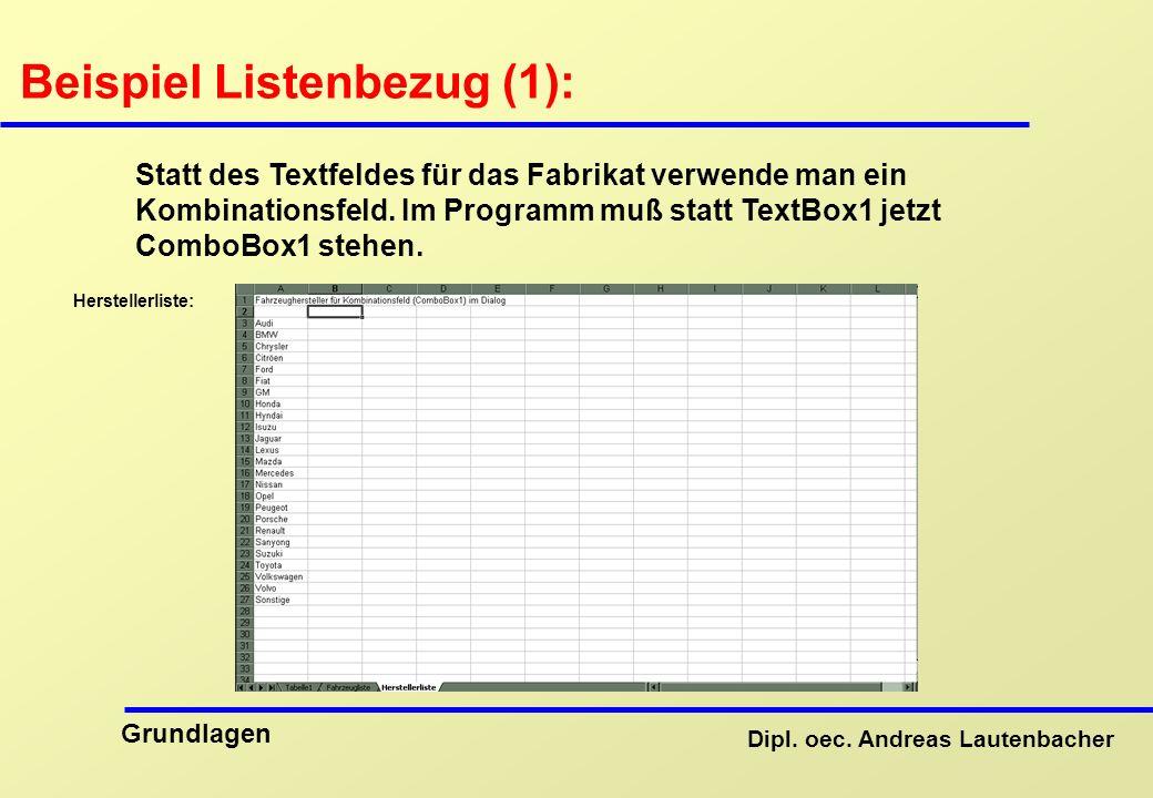 Beispiel Listenbezug (1):