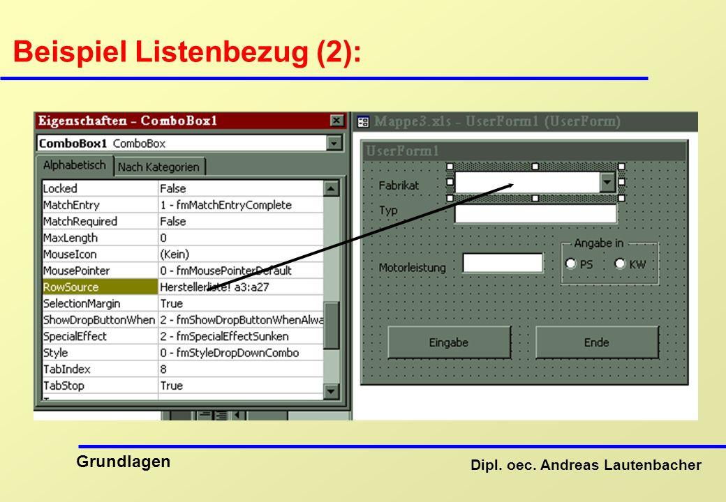 Beispiel Listenbezug (2):