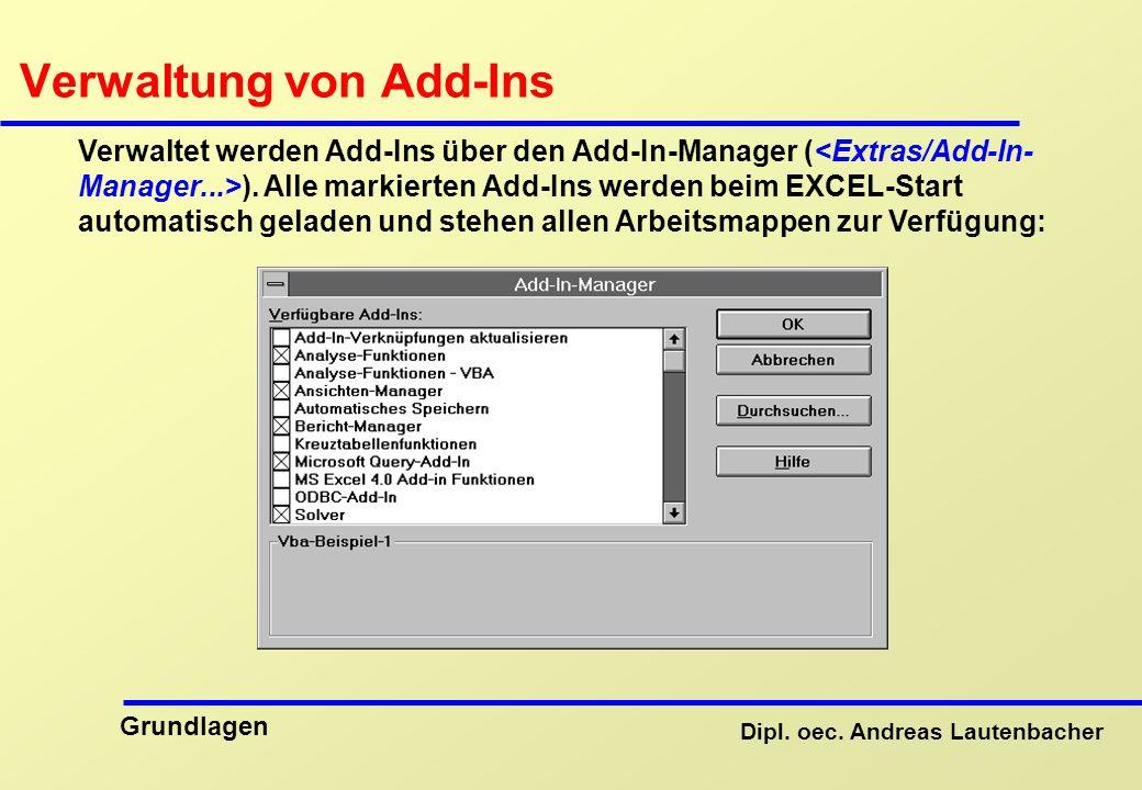 Verwaltung von Add-Ins