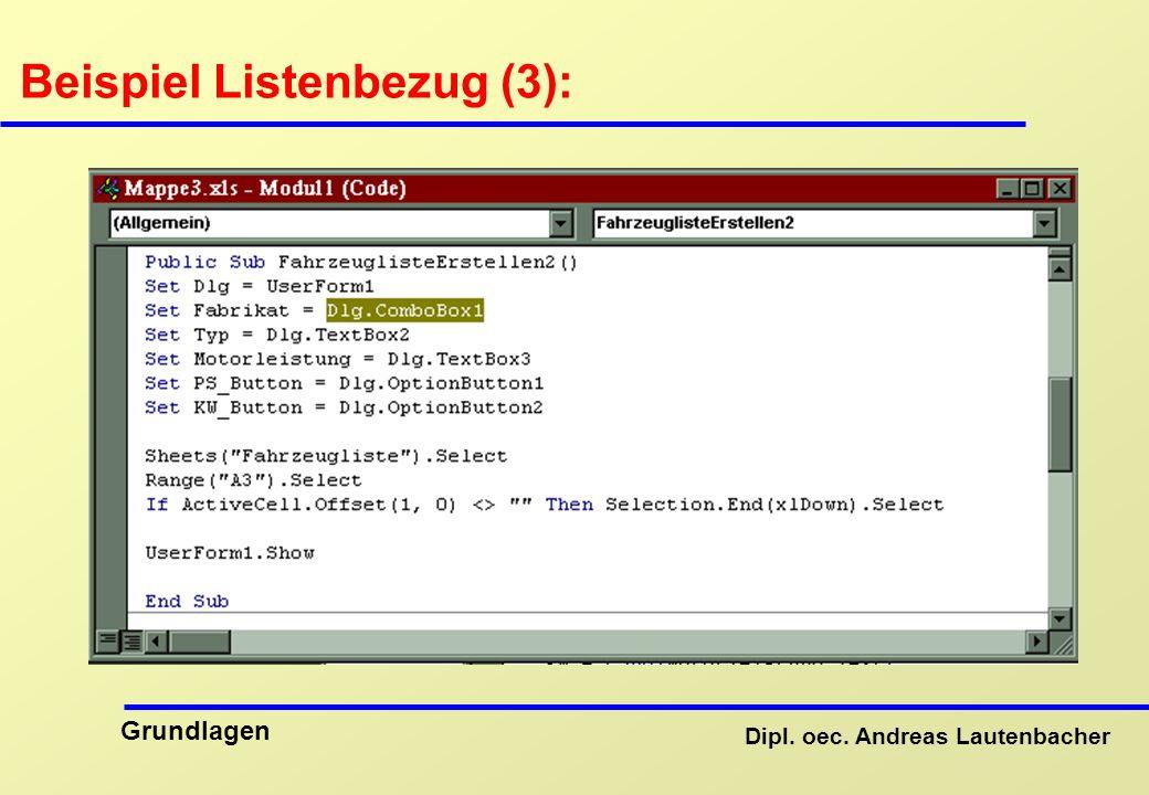 Beispiel Listenbezug (3):