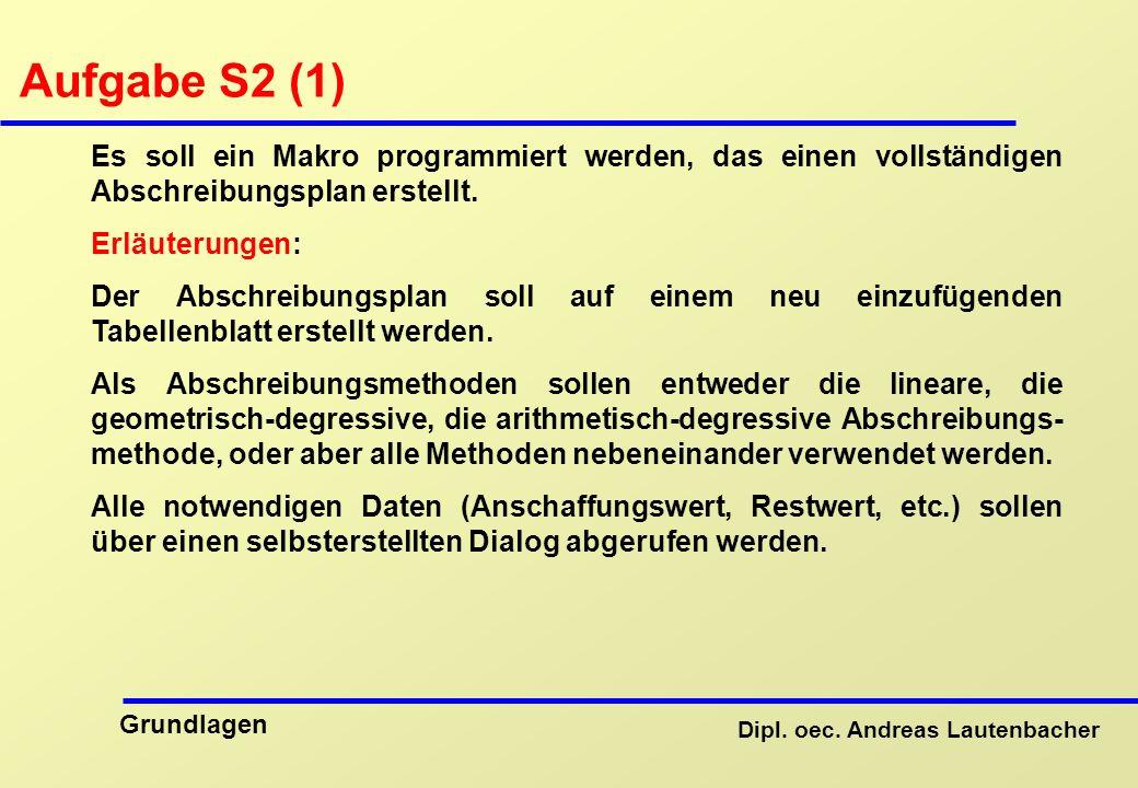 Aufgabe S2 (1) Es soll ein Makro programmiert werden, das einen vollständigen Abschreibungsplan erstellt.