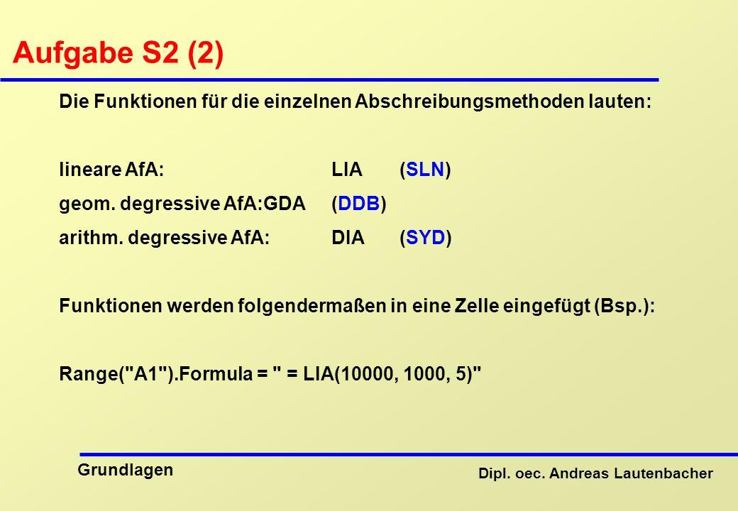 Aufgabe S2 (2) Die Funktionen für die einzelnen Abschreibungsmethoden lauten: lineare AfA: LIA (SLN)