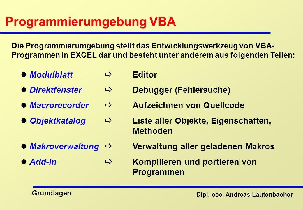 Programmierumgebung VBA