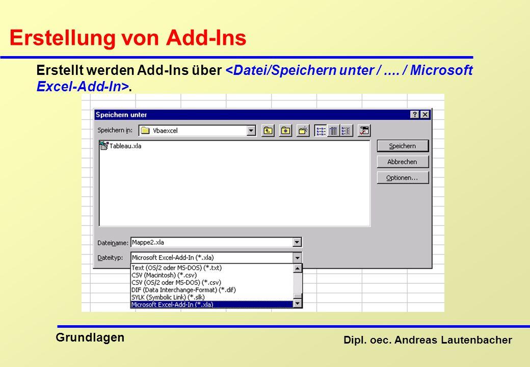 Erstellung von Add-Ins