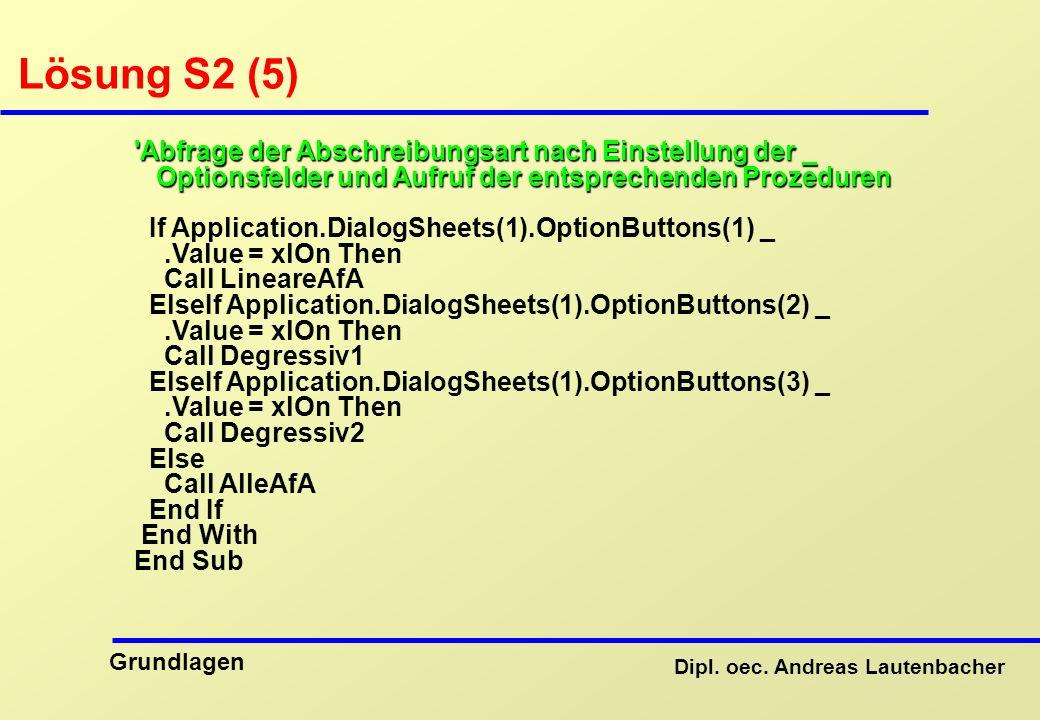 Lösung S2 (5) Abfrage der Abschreibungsart nach Einstellung der _