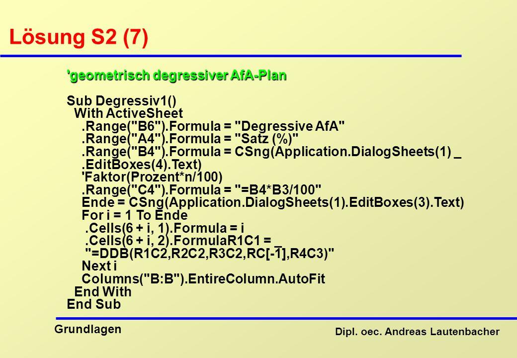 Lösung S2 (7) geometrisch degressiver AfA-Plan Sub Degressiv1()