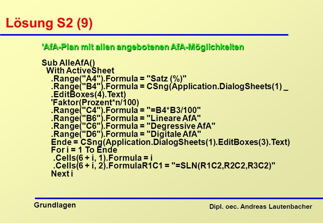 Lösung S2 (9) AfA-Plan mit allen angebotenen AfA-Möglichkeiten