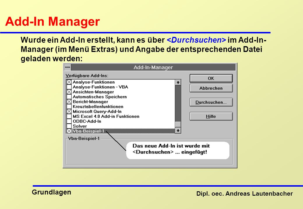 Add-In Manager