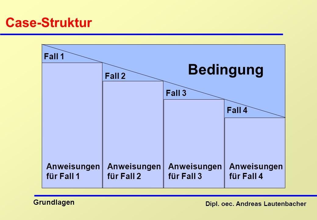 Bedingung Case-Struktur Fall 1 Fall 2 Fall 3 Fall 4 Anweisungen