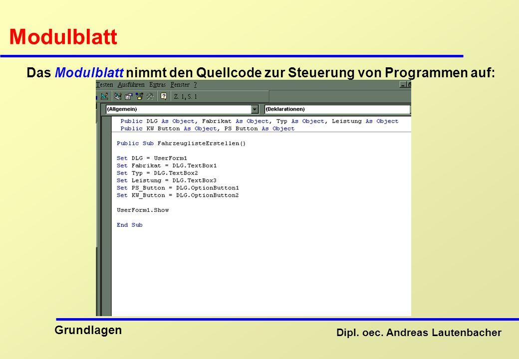 Das Modulblatt nimmt den Quellcode zur Steuerung von Programmen auf: