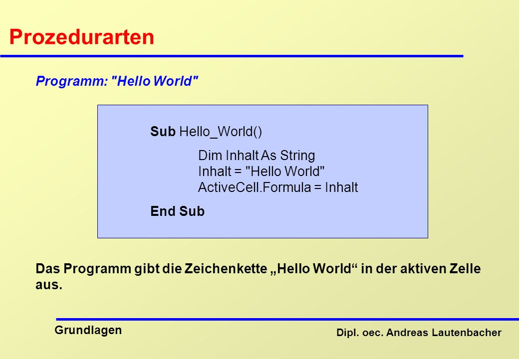 Prozedurarten Programm: Hello World Sub Hello_World()