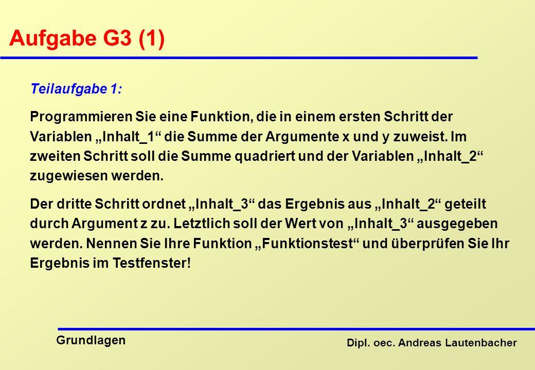 Aufgabe G3 (1) Teilaufgabe 1: