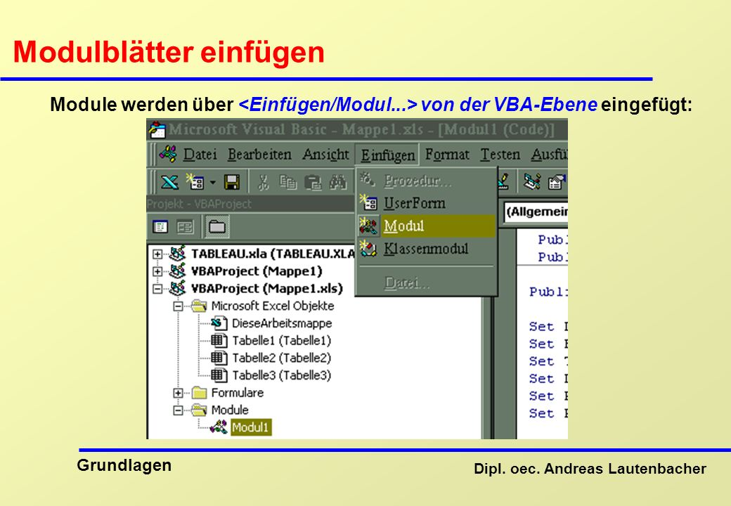 visual basic excel befehle