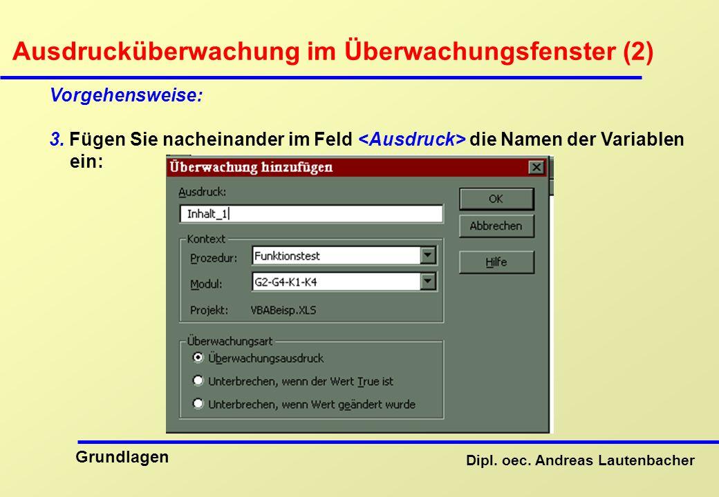 Ausdrucküberwachung im Überwachungsfenster (2)