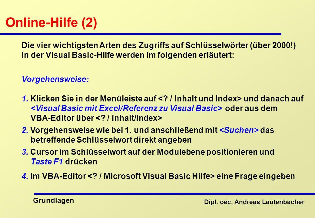 Online-Hilfe (2) Die vier wichtigsten Arten des Zugriffs auf Schlüsselwörter (über 2000!) in der Visual Basic-Hilfe werden im folgenden erläutert: