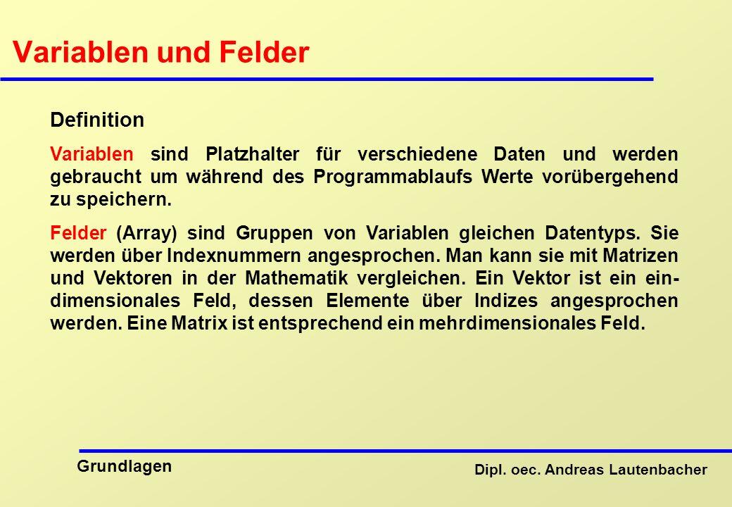 Variablen und Felder Definition