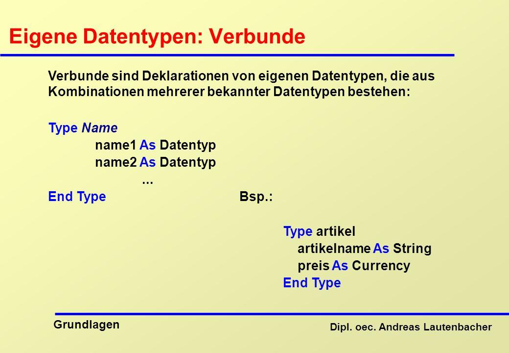 Eigene Datentypen: Verbunde