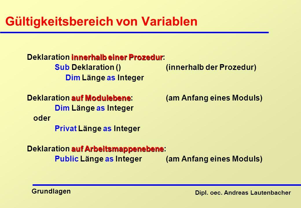 Gültigkeitsbereich von Variablen