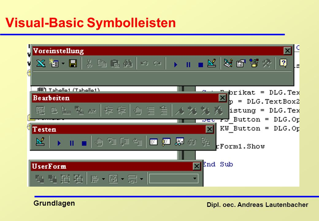 Visual-Basic Symbolleisten