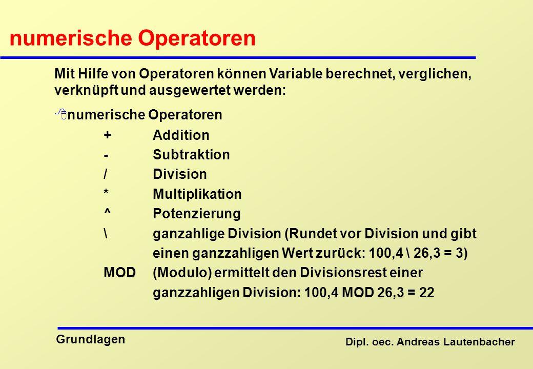 numerische Operatoren