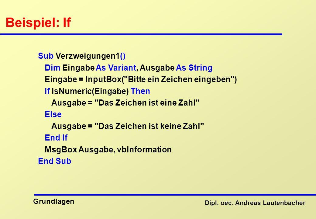 Beispiel: If Sub Verzweigungen1()