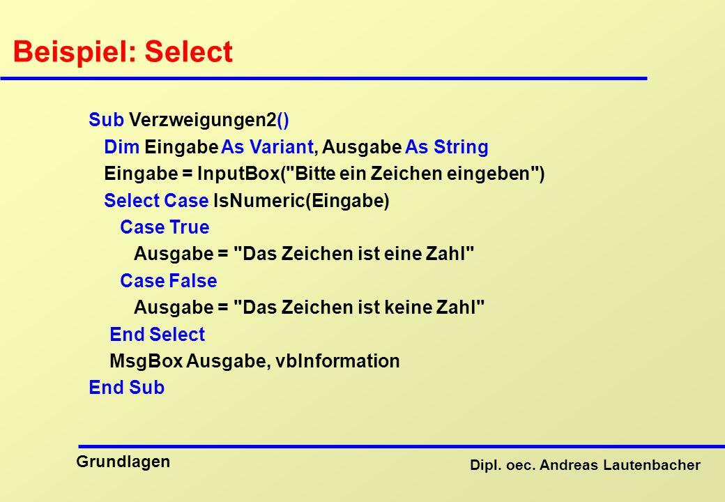 Beispiel: Select Sub Verzweigungen2()