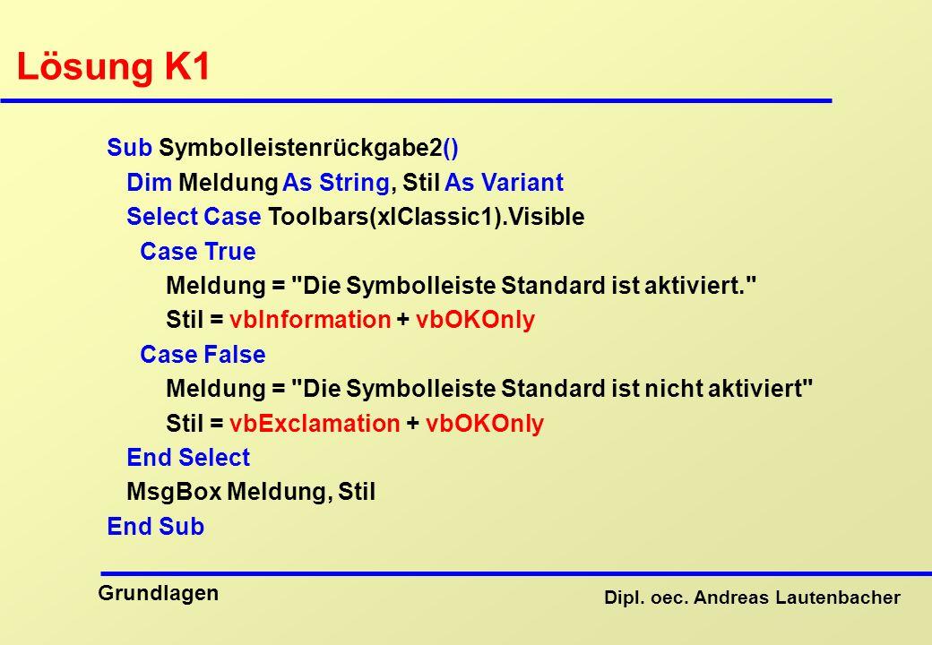 Lösung K1 Sub Symbolleistenrückgabe2()