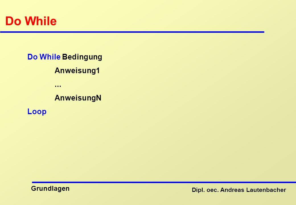 Do While Do While Bedingung Anweisung1 ... AnweisungN Loop