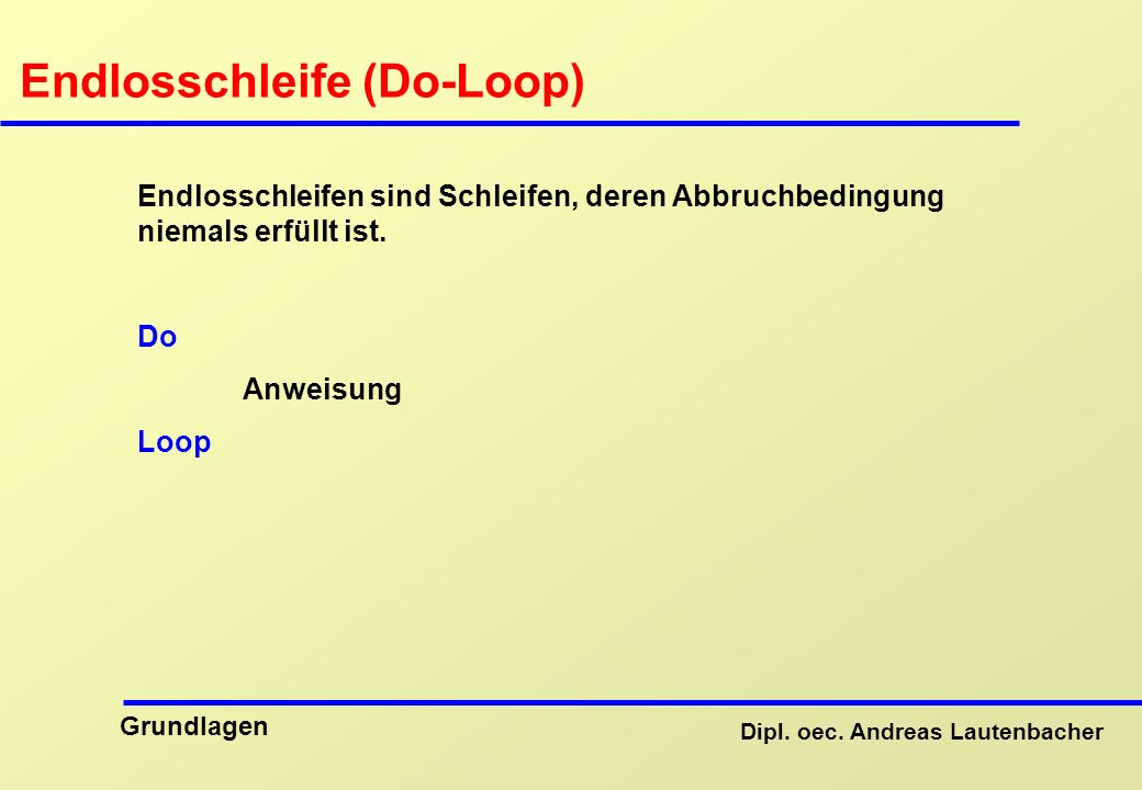 Endlosschleife (Do-Loop)
