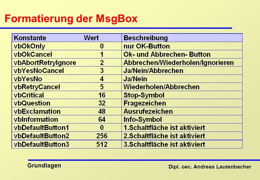 Formatierung der MsgBox